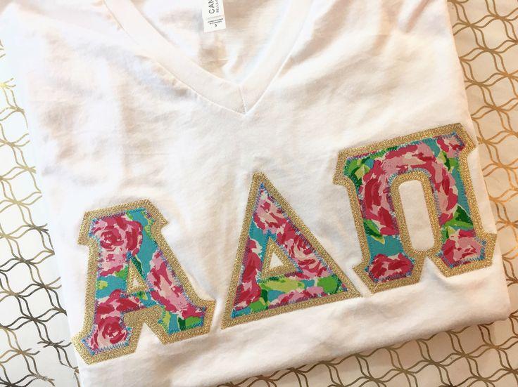 V neck greek letter shirt, dphie shirt, adpi shirt, delta gamma shirt, alpha gam shirt, phi mu shirt, kappa delta shirt, alpha phi shirt by ARoweDesigns on Etsy https://www.etsy.com/listing/535351983/v-neck-greek-letter-shirt-dphie-shirt