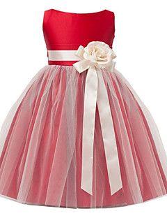 A-line Tea-length Flower Girl Dress - Satin Tulle Jewel with Flower(s) Sash / Ribbon – USD $ 145.00