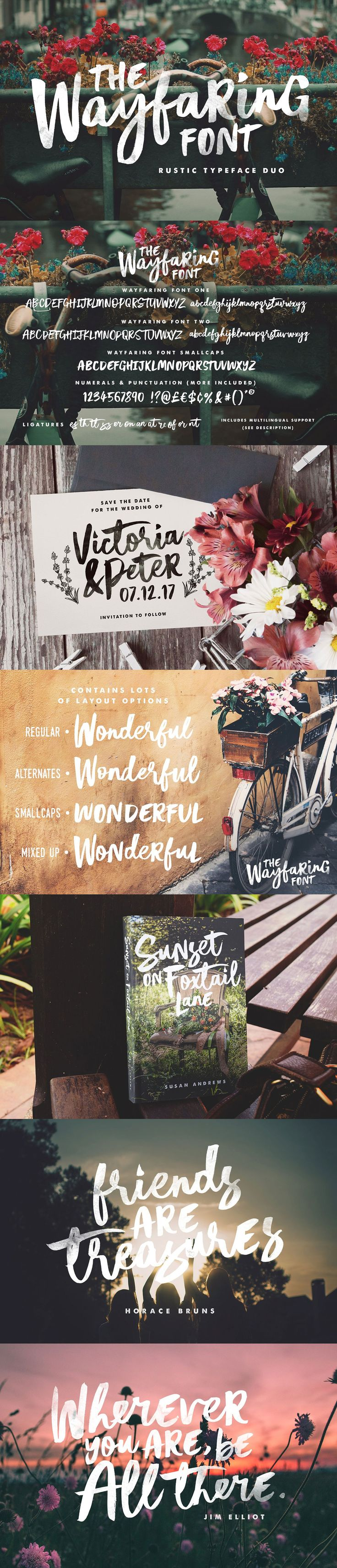 The Wayfaring #Font Duo! A hand-painted set of fonts designed to add a rustic and whimsical charm to your #design projects. It's rough around the edges and not without imperfections - but aren't we all? With distinctive bold & playful brush strokes, The Wayfaring Font Duo is ideal for your #logo designs, product #packaging, #wedding designs, book covers, social media posts, #merchandise & more. ( #calligraphy #typography #lettering #quotes #branding #handwriting #watercolor #typeface…