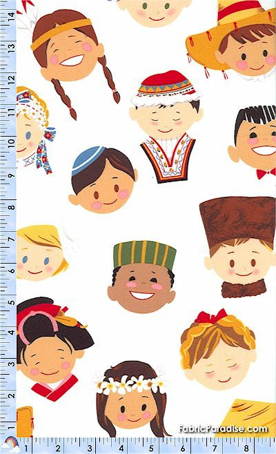 Smiles Around the World on Ivory - BACK IN STOCK! - Ethnic, Elkabee's Fabric Paradise.com, LLC