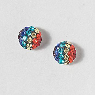 Sterling Silver Stud Earrings - Rainbow Coloured Resin Heart with Crystal XaKQG
