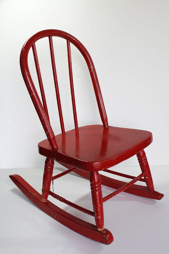 Red Wood Rocking Chair, Childs Chair, Doll Rocking Chair