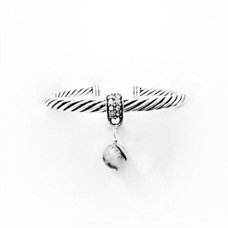 Natural Stone Tourmalinated Quartz & Rhinestone Crystal Semi Precious Gemstone Antique Silver Twist Cuff Chakra Charm Bracelet - M Dawn Art