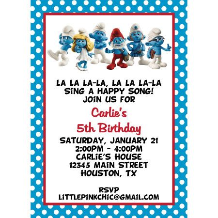 smurfs invitations smurfs birthday invitation smurfette birthday smurf baby shower invitation i design you print by bethzfl 450x450