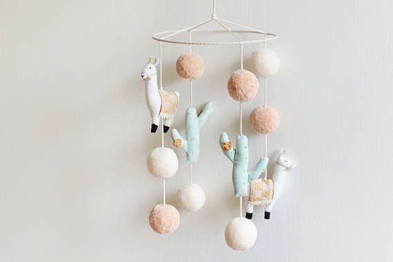 Handmade 'Llama and Cactus Nursery Mobile', Llama Mobile, Cactus Mobile, Llama Nursery, Cactus Nursery, Boho Baby Nursery - MADE TO ORDER