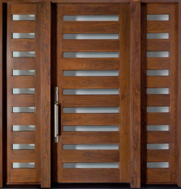 Lovely Out Door Wood Door Itself Build Light Walnut Wood With Schltzen