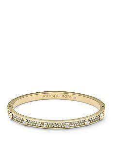 Michael Kors Clear Stone Pave Gold Tone Astor Stud Hinge Bracelet