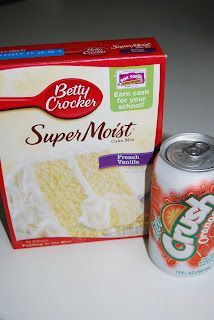 """Tried this today…and it's delish!"" Orange Crush Cake! 1 cake mix 1 can of crush pop-mix-bake at 350 for 30 min-that's it!"