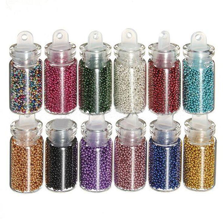 12 мини бутылок ногтей икра шары блеск акриловые бусины Маникюр украшения купить на AliExpress