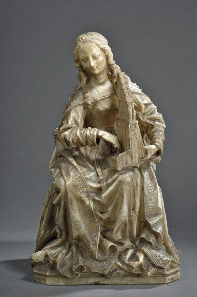 Attribué à Gil de Siloé (1440-vers 1501), Castille, vers 1500. Sainte Cécile en albâtre sculpté en ronde bosse, h. 49 cm. Adjugé : 2 875 000 € Lundi 12 décembre, salle 2 - Drouot-Richelieu. Daguerre OVV. Mme Fligny.
