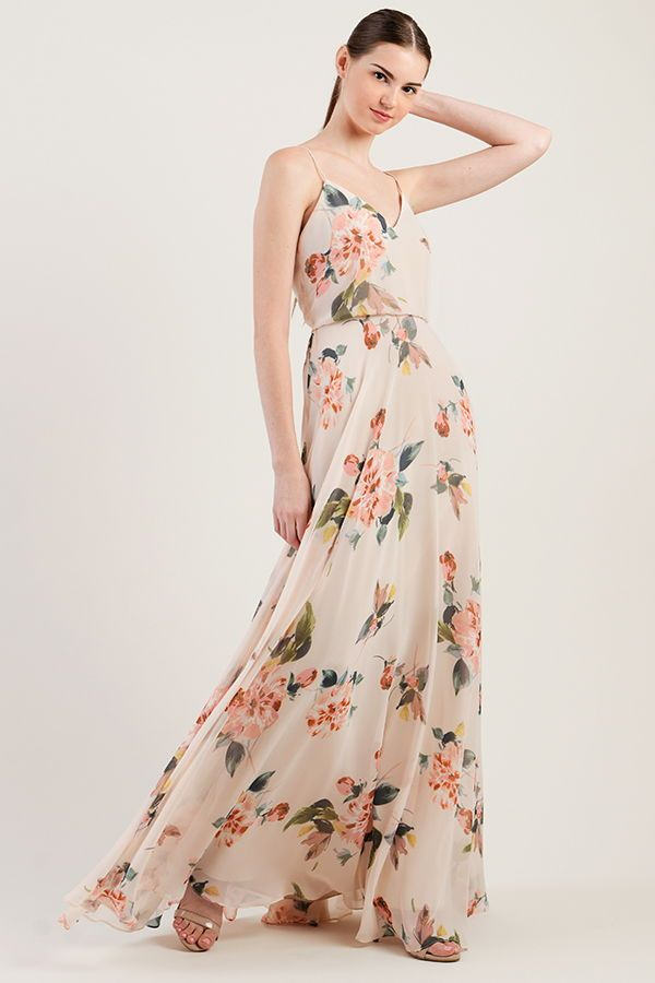 eea714518 Jenny Yoo mismatched Bridesmaids, shown in our 'Inesse' Dress in Ohana  Floral print. This long chiffon dress is the perfect bridal party dress for  a spring ...