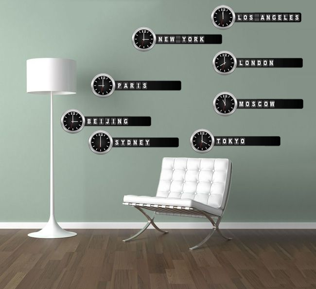 large world clocks removable wall stickers. world time differences wall stickers