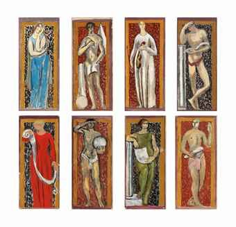 Duncan Grant (1885-1978) and Vanessa Bell (1879-1961) Eight Studies for Murals at John Maynard Keynes' rooms, Webb's Court, King's College, Cambridge; The Muses of Arts and Sciences