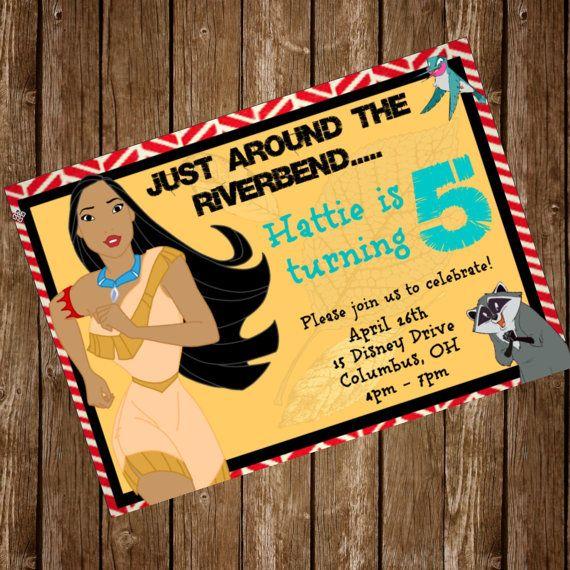 Disney's Pocahontas Party Invitation Birthday  by HattieMaeDesigns