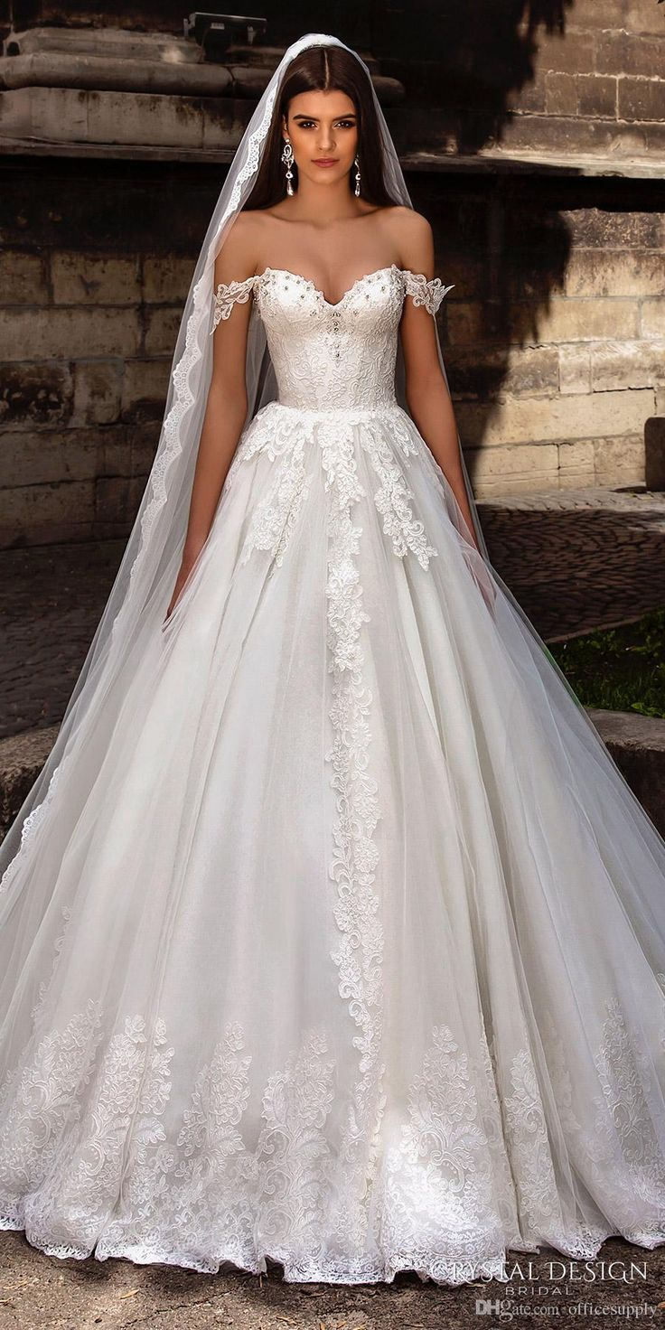 Discount Crystal Design Bridal Gowns 2018 Off The Shoulder Bustier Heavily Lace Embellished Bodice Princess A Line Ball Gown Wedding Dresses Grecian Wedding Dresses Informal Wedding Dress From Officesupply, $154.89| DHgate.Com