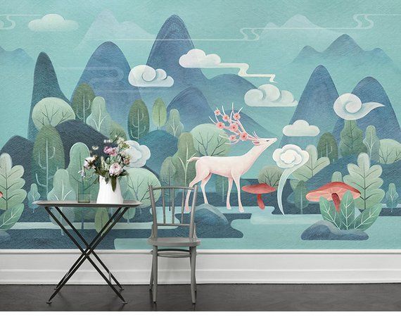 Hand Painted Cartoon Trees with Deer Nursery Children Wallpaper Wall Mural, Green Trees Cartoon Kids