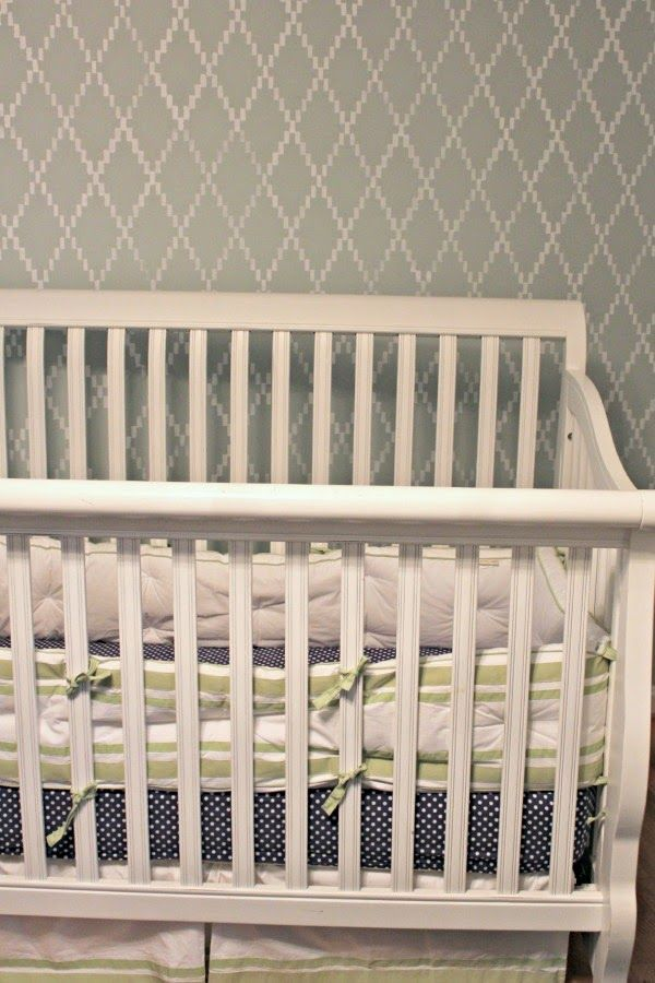 Neutral and gray Baby room and nursery made adorable with Nova Trellis wall stencil by Royal Design Studio. Image via Southern State of Mind