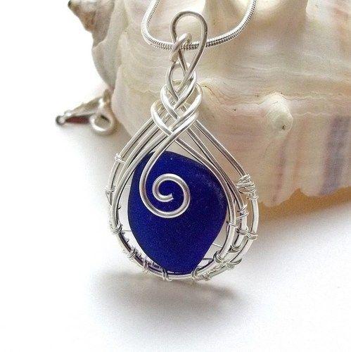 Wire wrapped Sea Glass Pendant: