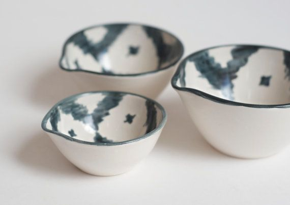 This small set of stoneware pinch bowls, nested together or nestled side by side, look lovely on a kitchen counter, and are perfect for cooking
