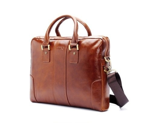 New High Quality Oil Leather Men's Brown Laptop Bag