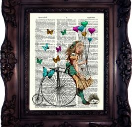 ALICE in WONDERLAND. Vintage Dictionary art print. Print on old book page. Penny farthing. Altered Art. Room decoration.Book page. Code:032