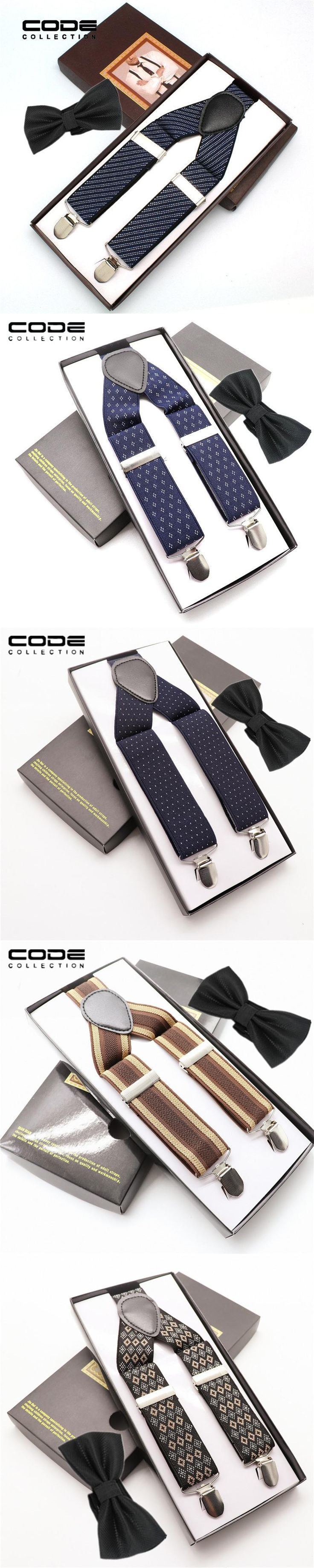 High-grade Bow Tie Suspenders Set Gentleman Elegant Stainless Steel Clip Cotton Jacquard Belt Man Groom's Trousers Accessories