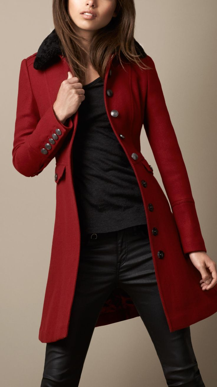 Wool Fitted coat, 3/4 length, military inspired, black, charcoal. BURBERRY - Red Shearling Collar Military Coat