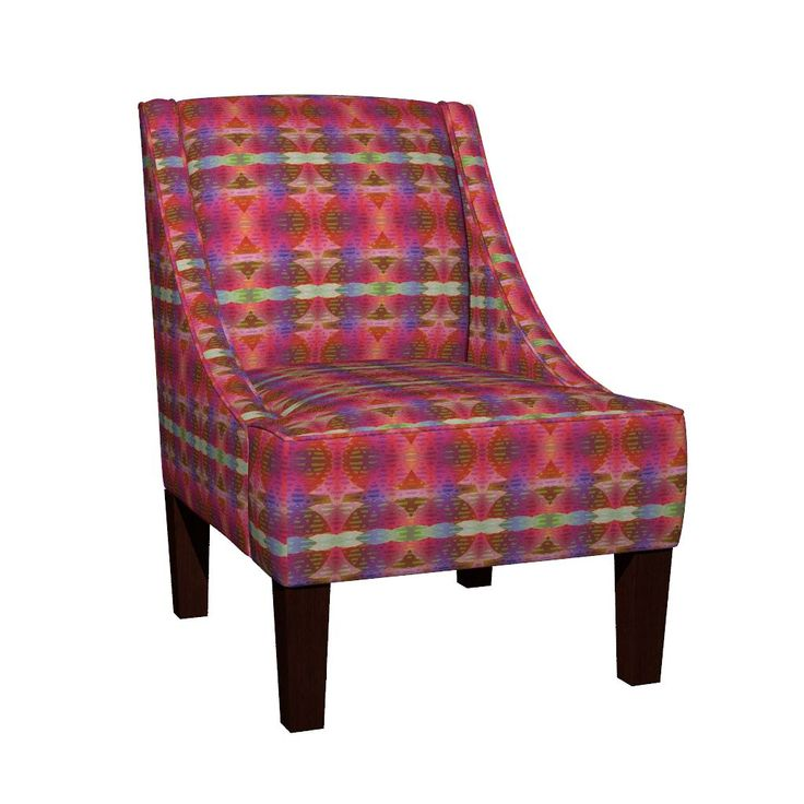 Venda Sloped Arm Chair featuring FUN STRIPES PINK PURPLE CORAL BOHO SUNNY AFTERNOON by paysmage   Roostery Home Decor