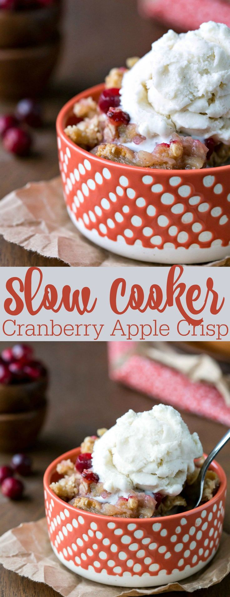 Slow Cooker Cranberry Apple Crisp - easy crock pot dessert recipe!
