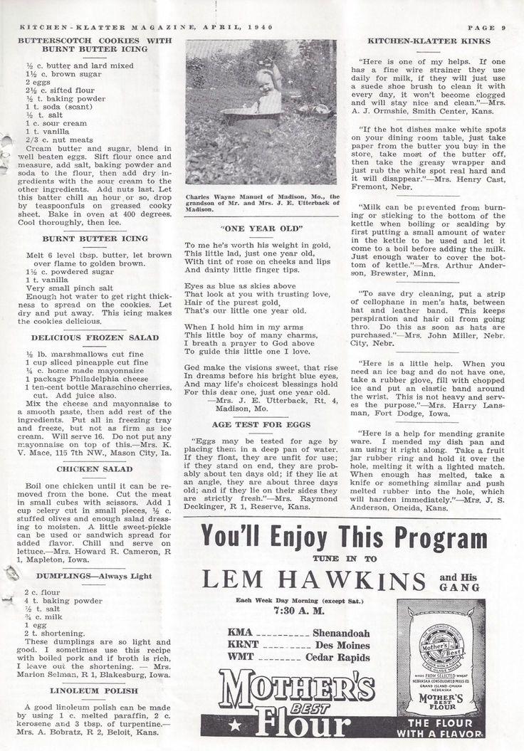 Kitchen Klatter Magazine, April 1940 - Butterscotch Cookies, Burnt Butter Icing, Delicious Frozen Salad, Chicken Salad, Dumplings, Linoleum Polish, Age Test for Eggs, Kitchen Klatter Kinks