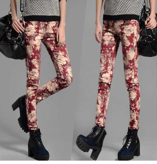 Бесплатная доставка 2014 весной новой корейской печати упругой цветок брюки случайные штаны карандаш брюки беременный живот беременной уход ...
