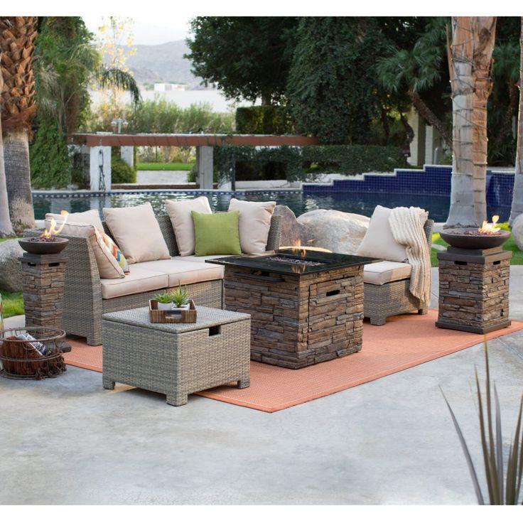 Coral Coast South Isle Natural Sectional Set with Coronado Gas Fire Pit Table - Fire Pit Patio Sets at Hayneedle