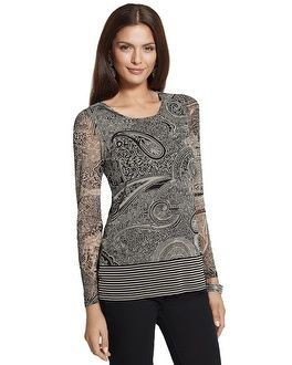 Chico's Nevah Long Sleeve Paisley Knit Top #chicossweeps