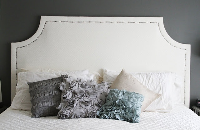 Homemade headboard. $160 total in materials compared to the 1,500 for the look-alike at Restoration Hardware.  Doing!!!