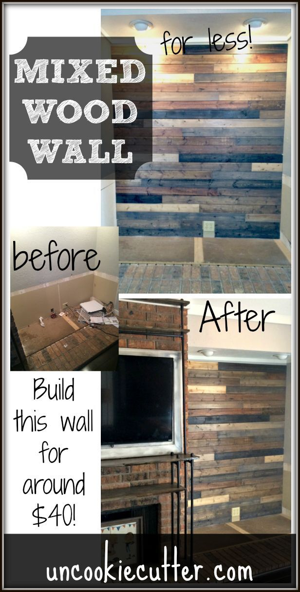 I created this mixed wood wall with cheap wood paneling from Lowes,  leftover stain and - 358 Best My Board Images On Pinterest Door Signs, Home And