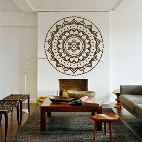 mandala decor   Free Shipping Yoga Mandala Om Indian Buddha Symbol Mehndi Wall Decal ...
