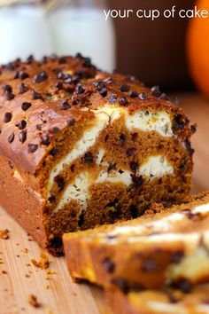 Cream Cheese Pumpkin Bread with Chocolate Chips - Recipe can be made into muffins too!