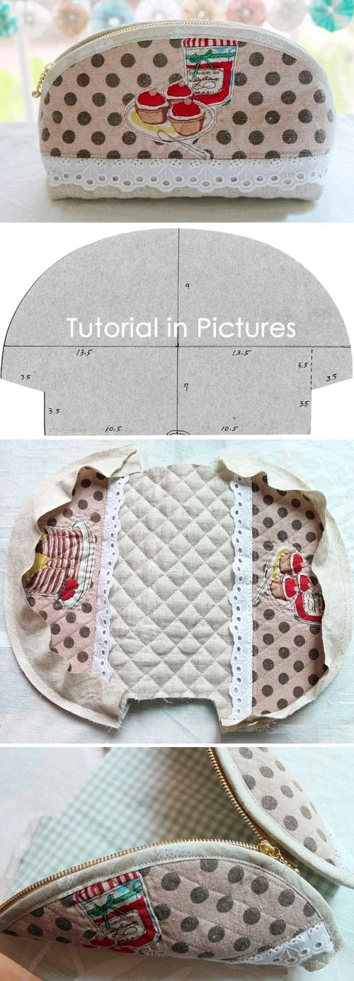 How to make a cute quilted zippered makeup bag!  DIY Pattern & Tutorial in Pictures. http://www.handmadiya.com/2015/10/round-top-zippered-makeup-bag.html