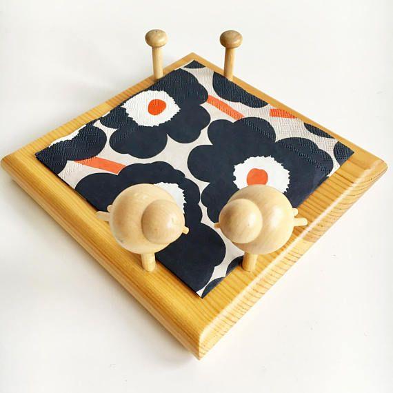 Vintage Aarikka wooden bird napkin holder designed by Kaija