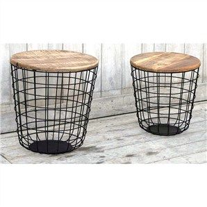 Canggu 2 Piece Hand Crafted Recycled Mango Wood Top Iron Round Si...
