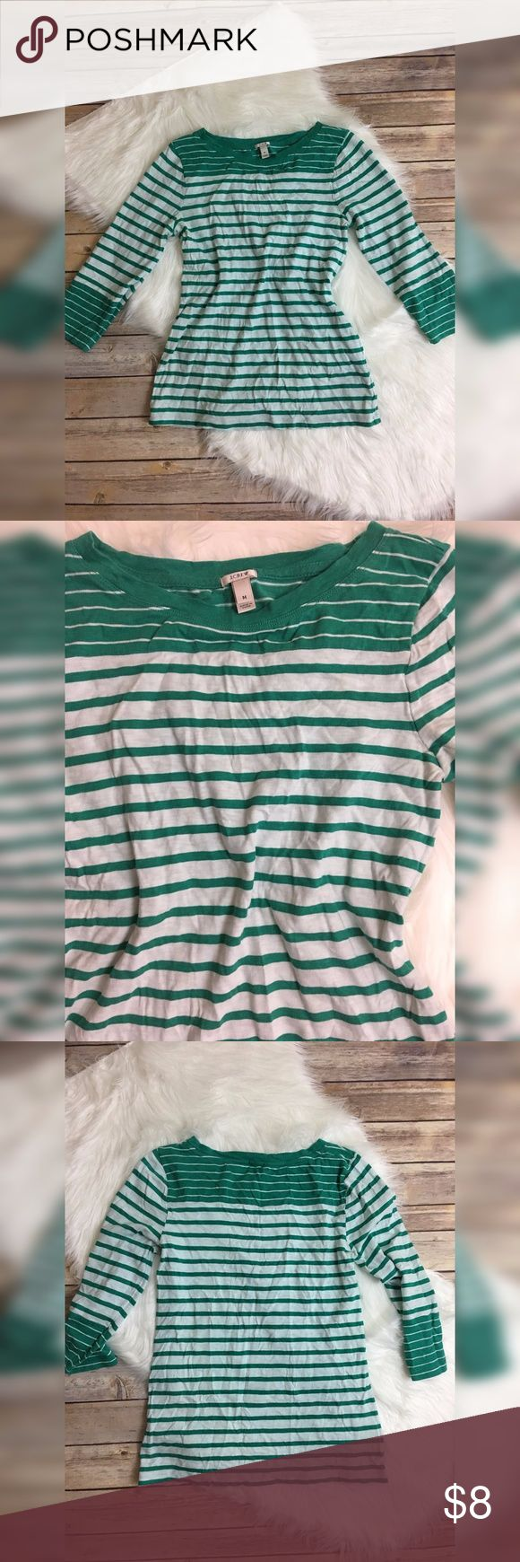 J.Crew striped casual 3/4 length tee shirt 100% cotton. boat neck., style#1519 J. Crew Tops