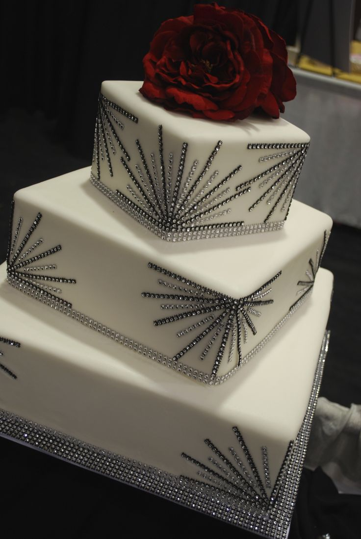 Gatsby Cake - buttercream wedding cake with black and silver bling accents