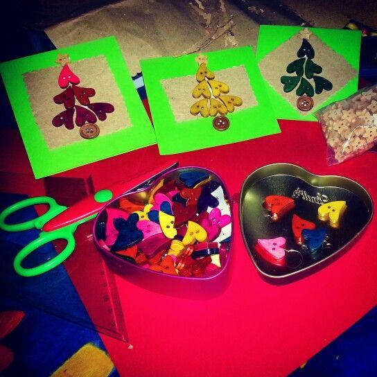 Bigliettini  natalizi con bottoni