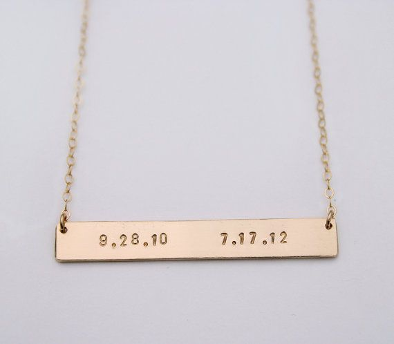 Date necklace Personalized nameplate necklace Memory by shopLUCA