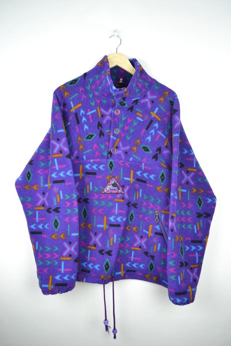 80s retro fleece sweater fleece vintage half zip chunky