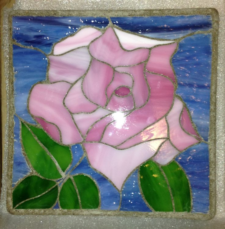 "Rose 12"" Stained Glass Garden Stone"