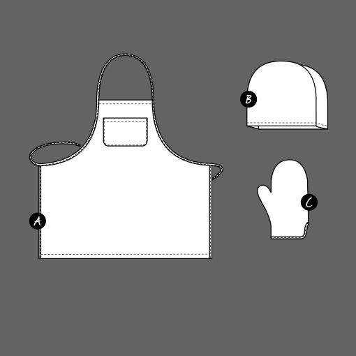 Forklæde/tehætte/grillhandske - STOFF & STIL