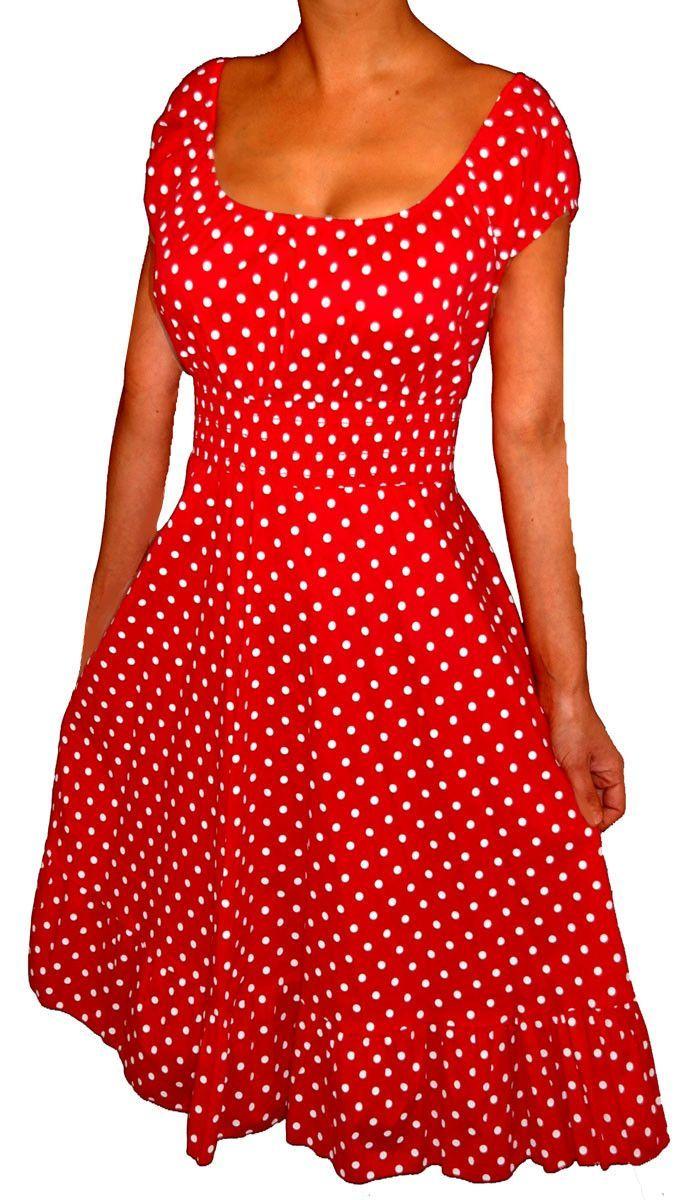Funfash Plus Size Red Polka Dots Rockabilly Retro Cocktail Dress