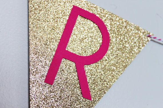 Personalized Glitter Flag Name Banner / Party decoration / First Birthday / Birthday girl / Pink & Gold Glitter on Etsy, $30.00