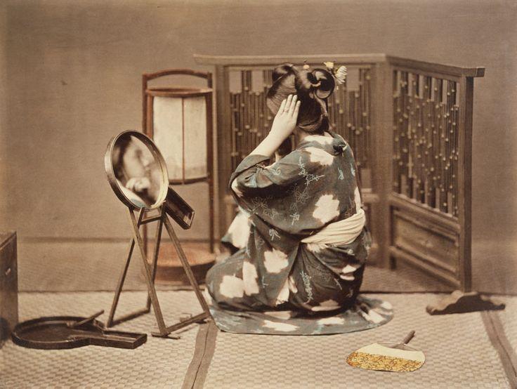 Woman at Toilette, 1880  Kusakabe Kimbei (1841–1934)  Hand -colored albumen print  Edward Morse Collection.